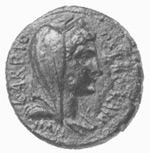 "A Coin from Roman Corinth. ""Livia"" is likely pictured according to Cynthia L. Thompson"