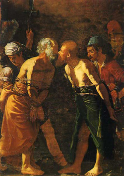 Alonzo Rodriguez painting (16th century) of Paul and Peter wishing each other farewell with a kiss.