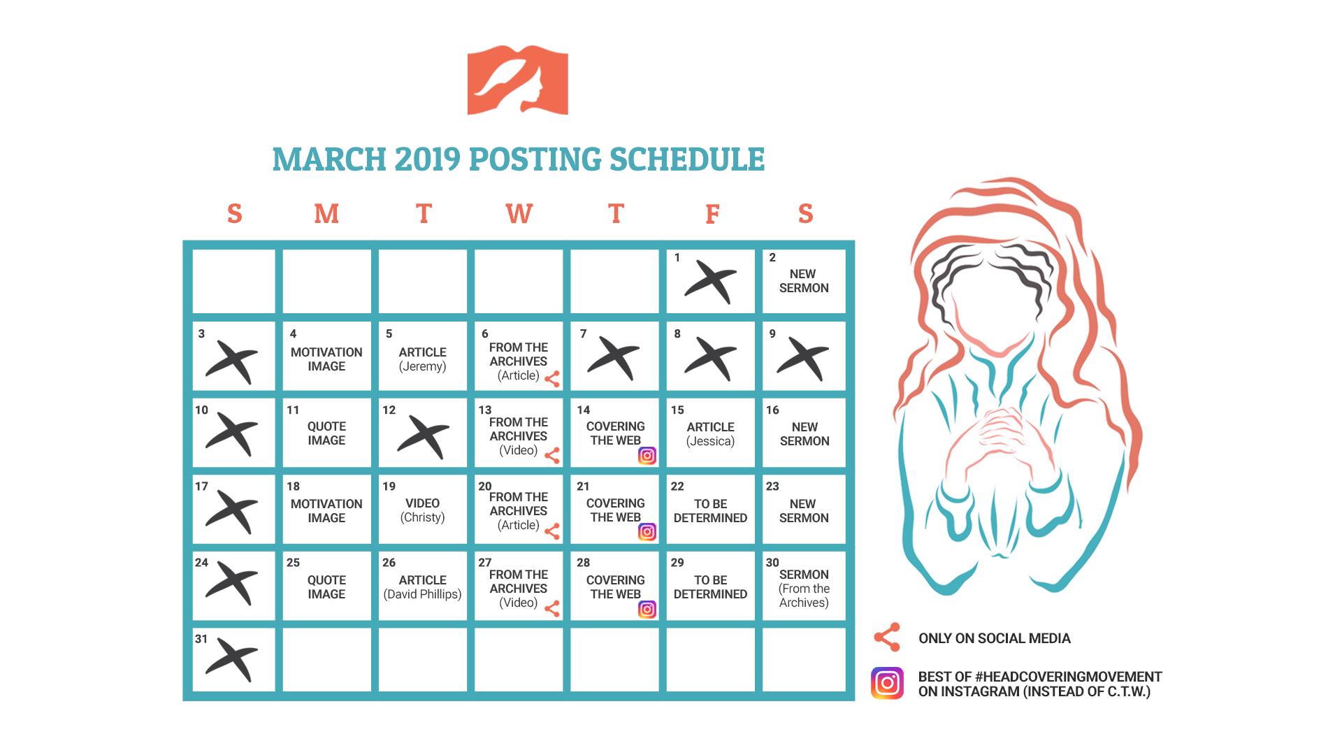 March 2019 Posting Calendar